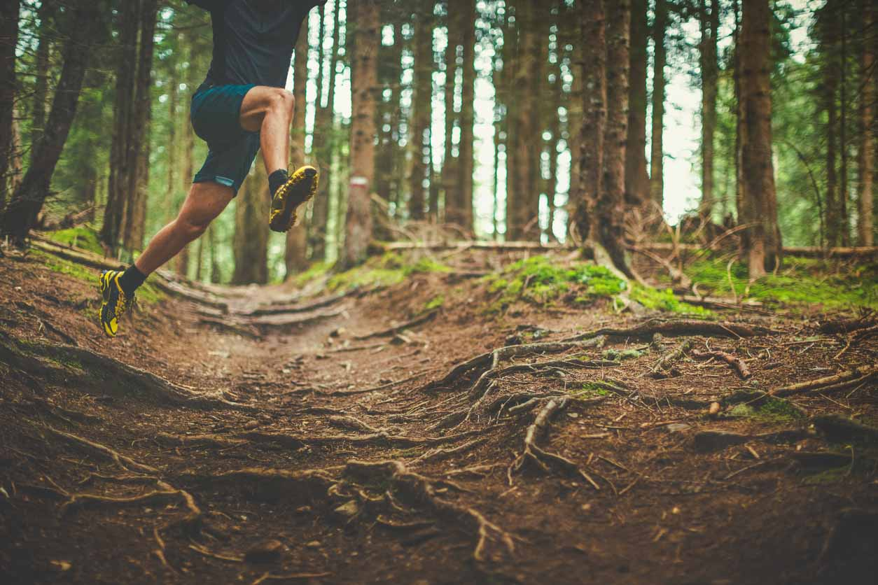 A man exercise trail running in a green and wet forest